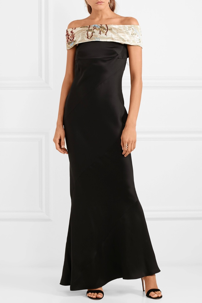 Giorgio Armani Embellished Off-the-Shoulder Silk-Blend Satin Gown $9,795