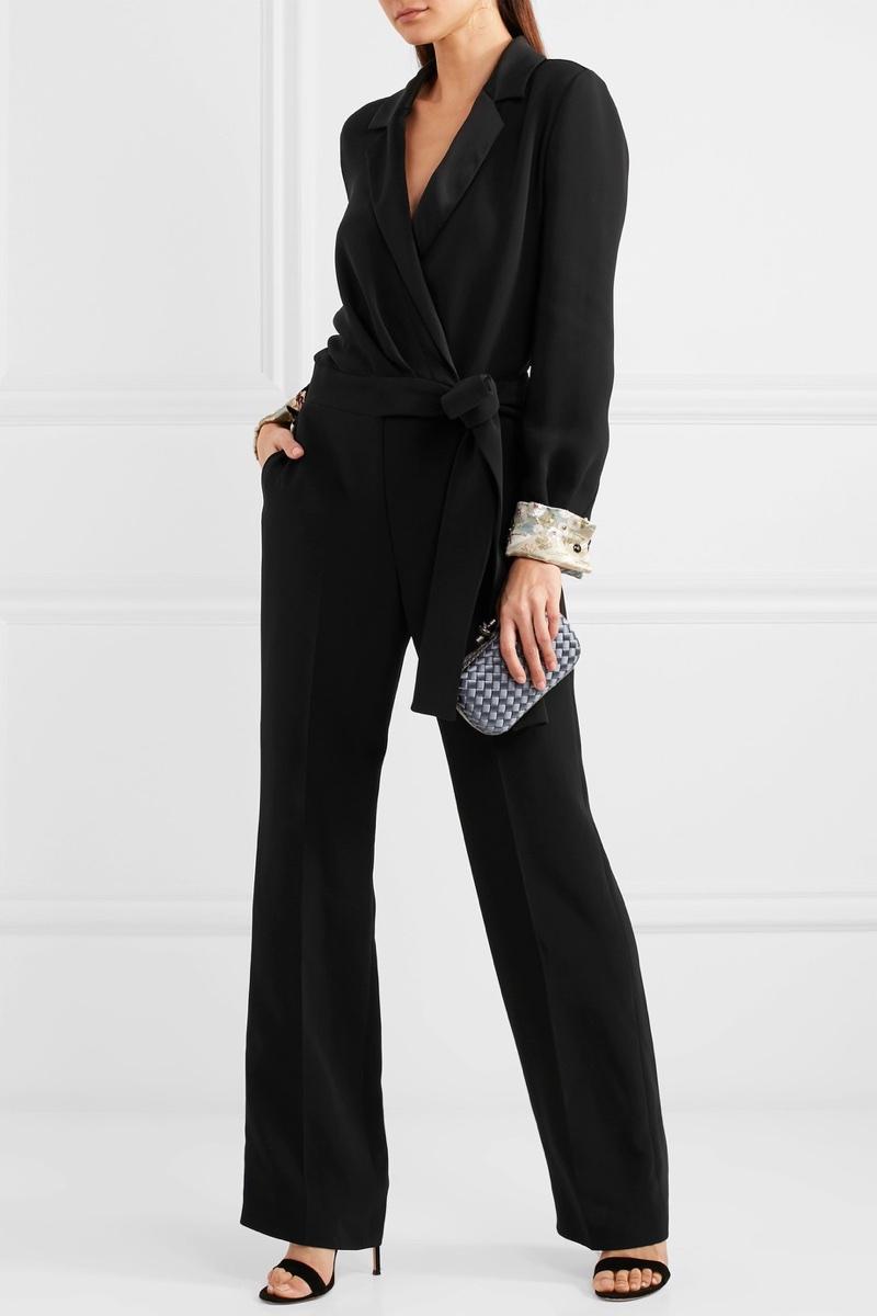 Giorgio Armani Embellished Satin-Trimmed Silk-Blend Crepe Jumpsuit $8,295