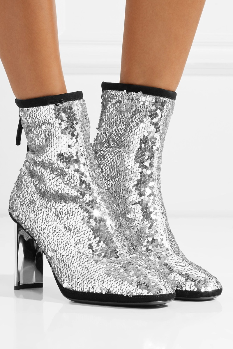 Giuseppe Zanotti Luce Suede-Trimmed Sequined Tulle Ankle Boots $447.50 (previously $895)
