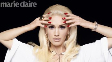 Singer Gwen Stefani wears Roberto Cavalli dress with Cartier jewelry