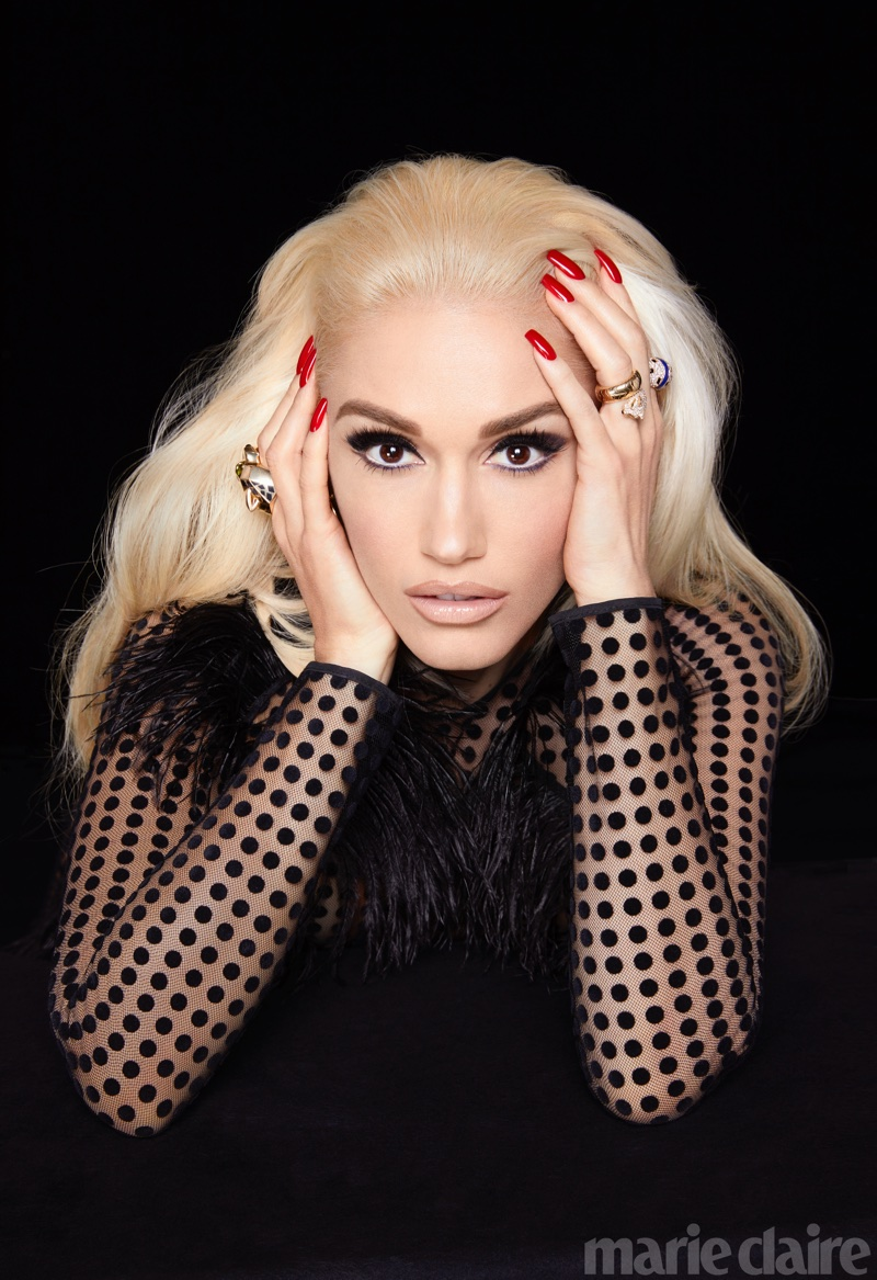 Ready for her closeup, Gwen Stefani poses in David Koma dress and Cartier rings