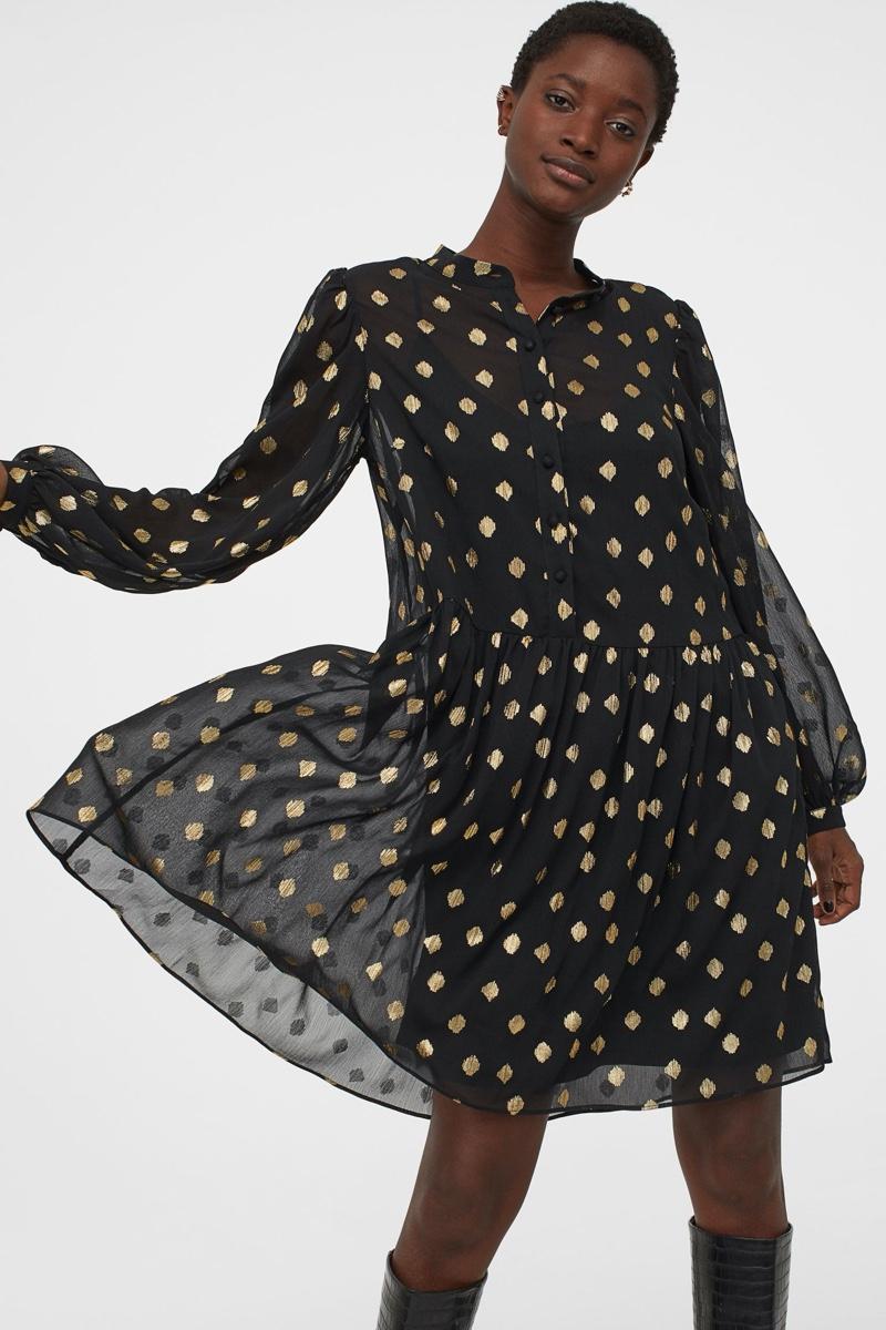 H&M Chiffon Dress in Black/Gold Colored Dots $29.99