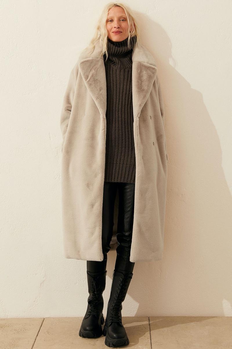 H&M Faux Fur Coat in Light Beige $79.99