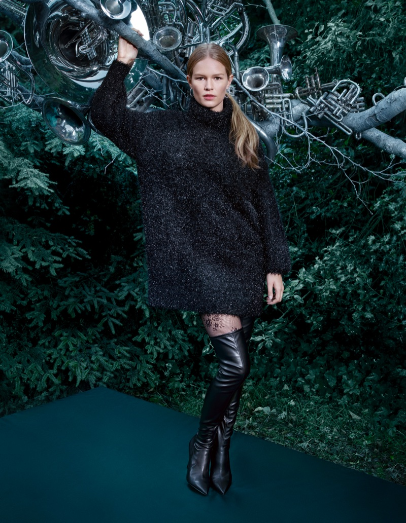 Anna Ewers wears H&M Knit Turtleneck Sweater and Thigh-High Boots