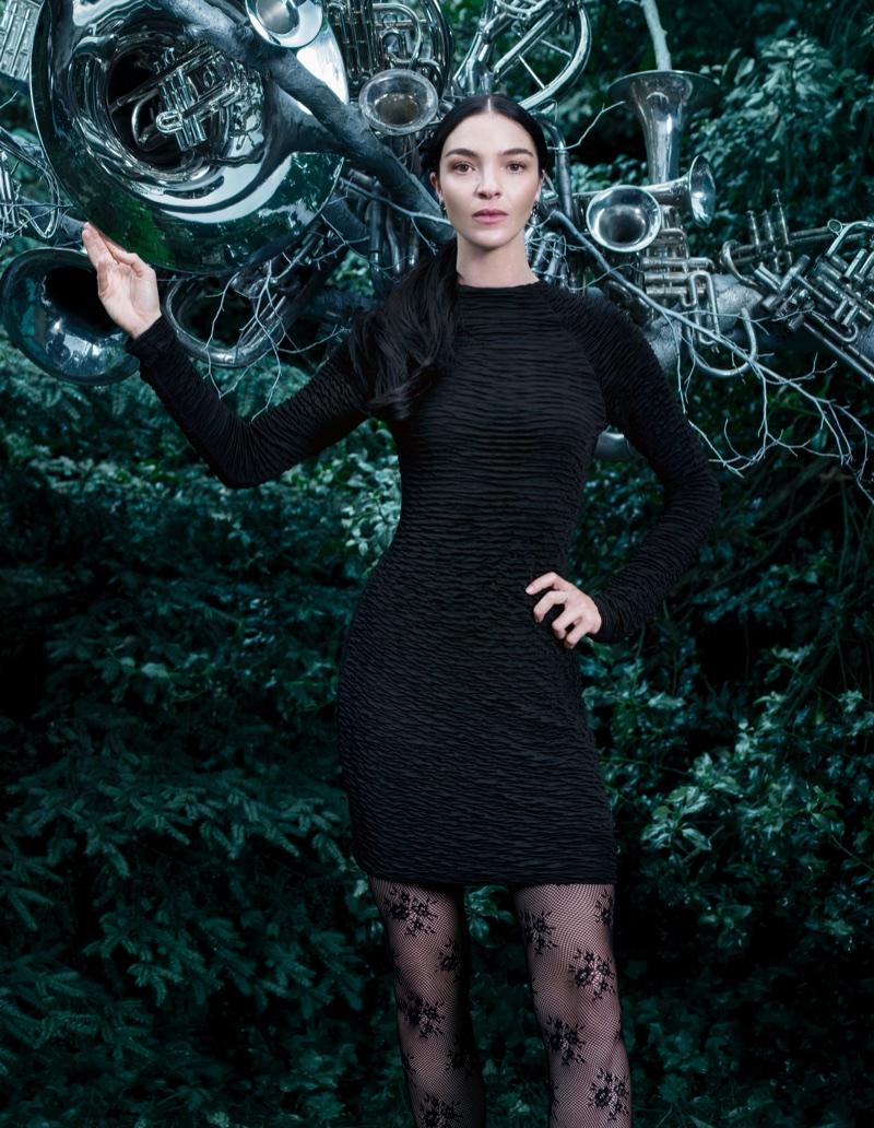 Mariacarla Boscono models H&M Gathered Dress