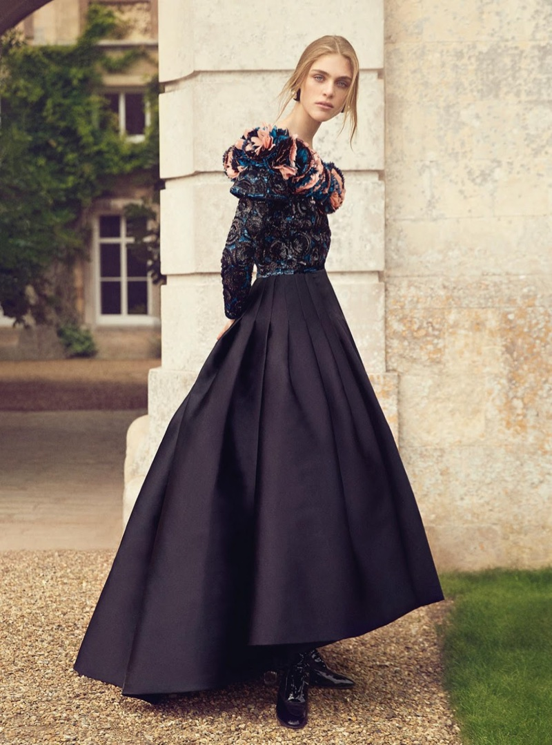 Hedvig Palm Poses in Haute Couture Gowns for Harper's Bazaar UK