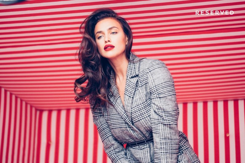 Irina Shayk poses behind-the-scenes at Reserved Christmas 2017 campaign