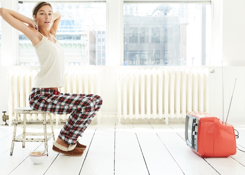 J. Crew Lace Trim Tank Top, Flannel Pajama Pant in Festive Plaid and Lodge Moccasins