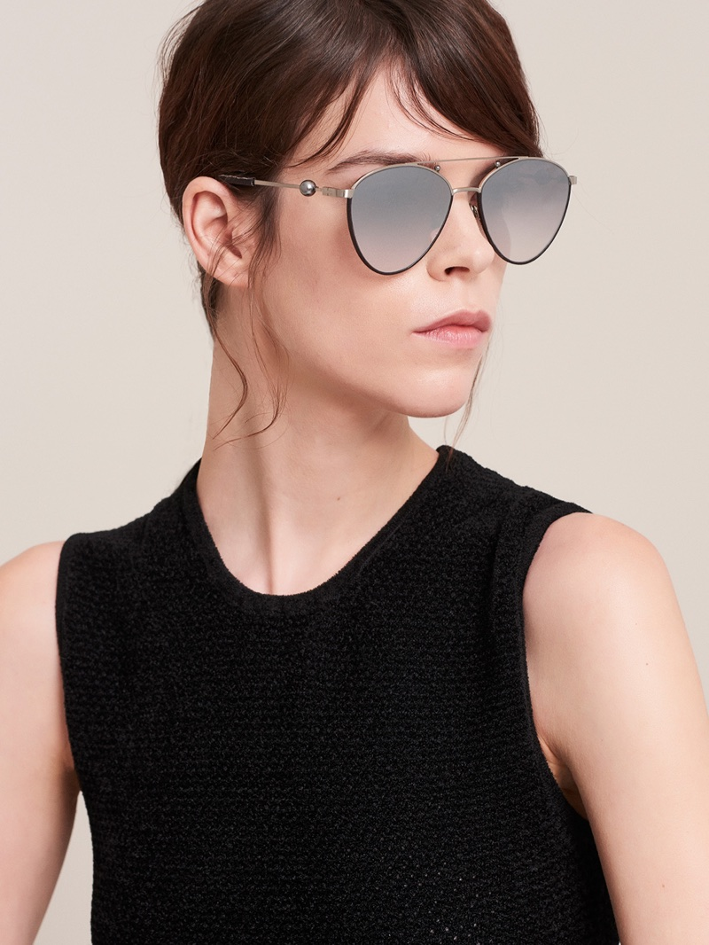 Meghan Collison wears cat eye sunglasses in Jason Wu Eyewear fall-winter 2017 campaign