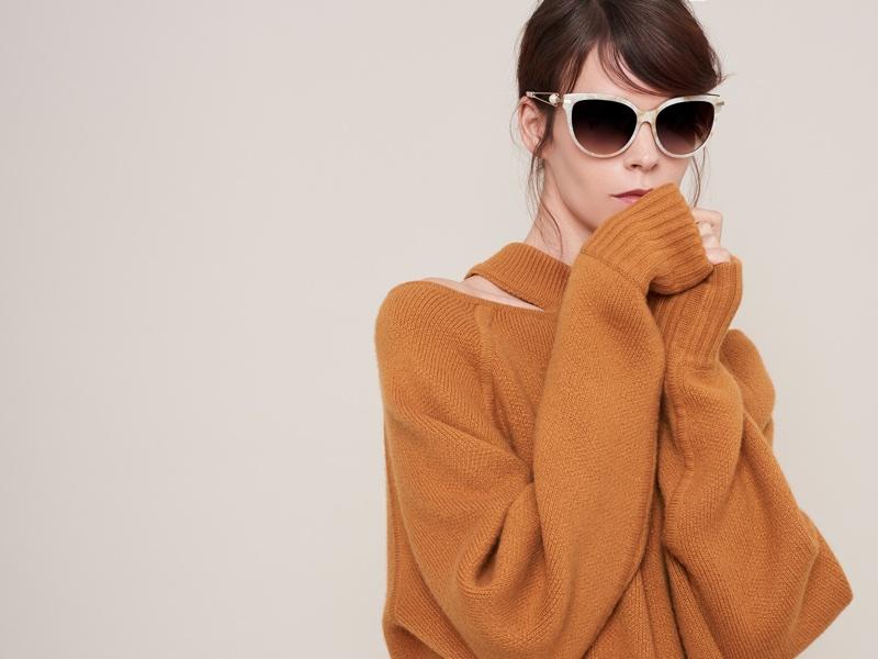 Meghan Collison poses in cat eye frames for Jason Wu Eyewear's fall-winter 2017 campaign