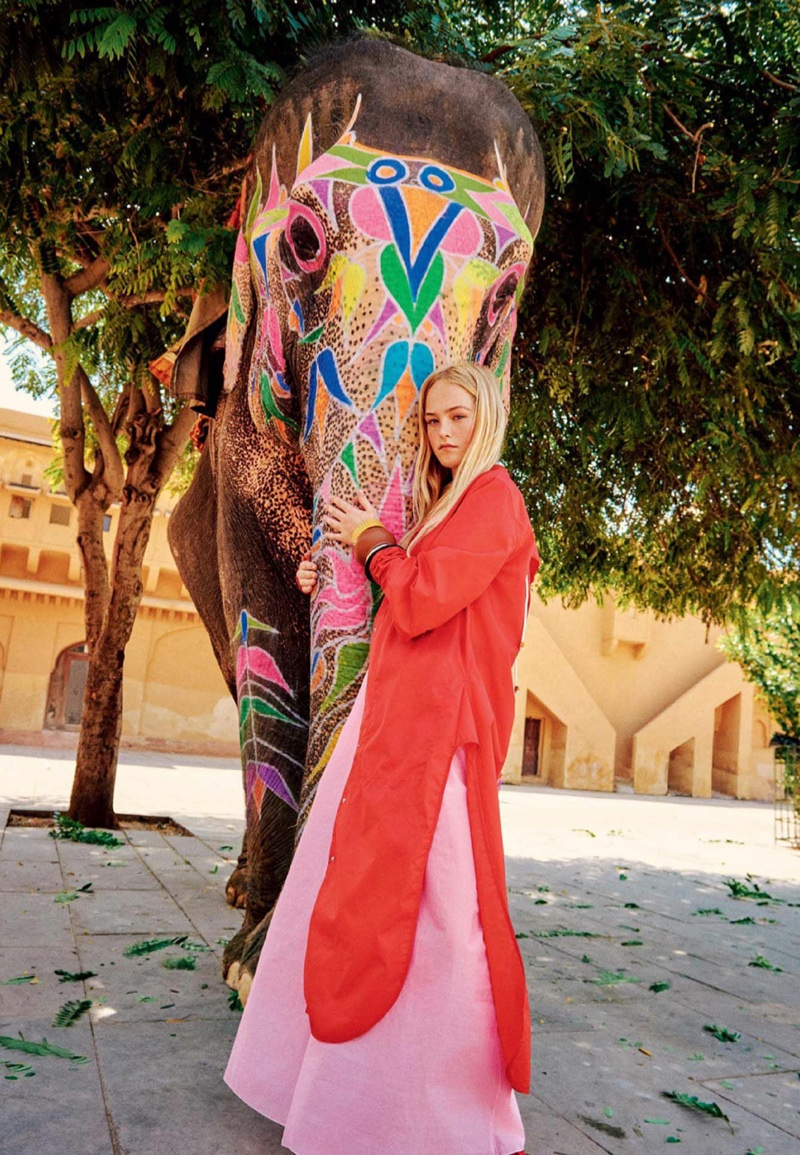 Jean Campbell Wears Colorful Resort Fashions in W Magazine