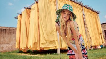 Jean Campbell Models Colorful Resort Fashions in W Magazine