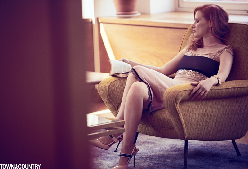 Jessica Chastain wears Prada dress, slip and shoes with Van Cleef & Arpels jewelry