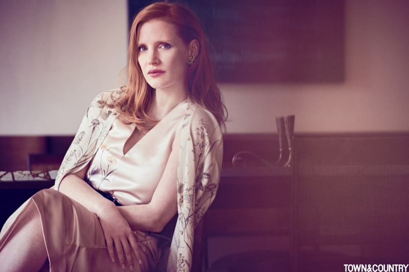 Jessica Chastain wears Bottega Veneta dress and cardigan with Fred Leighton earrings