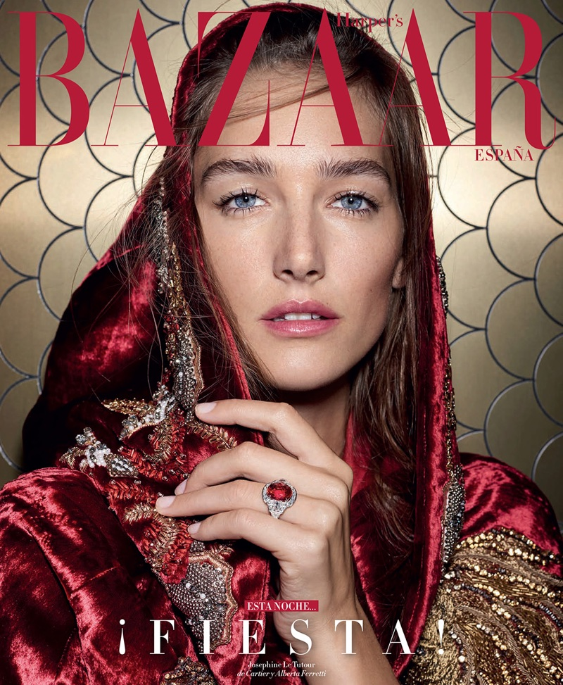 Josephine Le Tutour Poses in Party-Ready Looks for Harper's Bazaar Spain