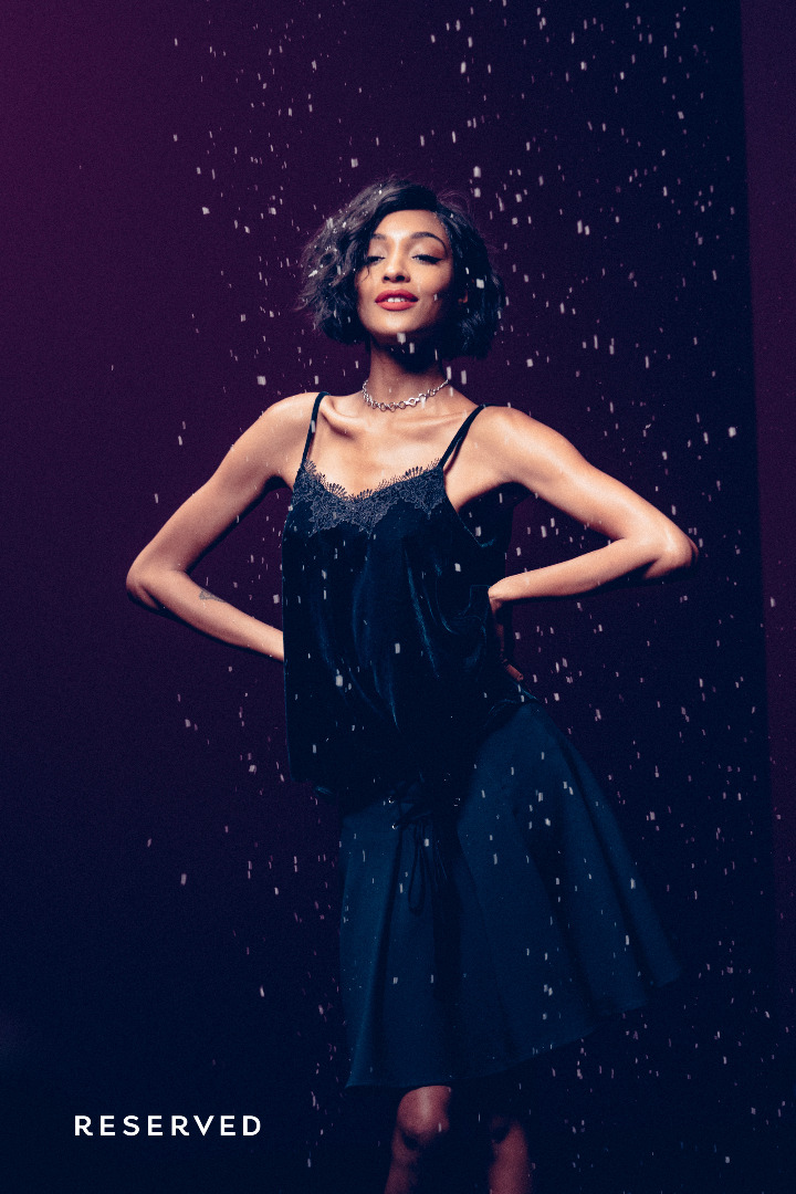 Jourdan Dunn looks ready for the snow behind-the-scenes at Reserved shoot
