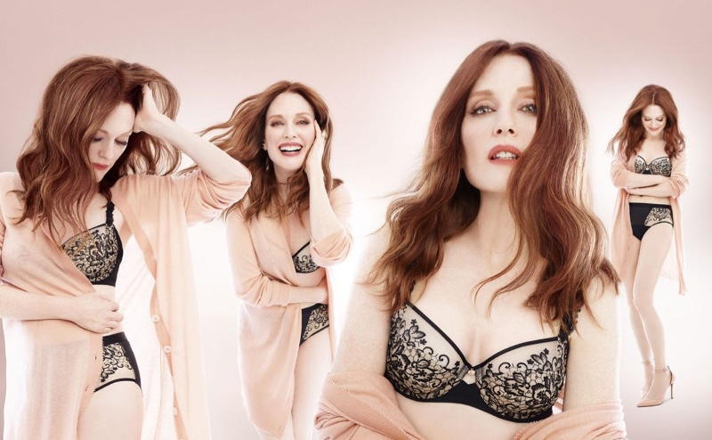 Julianne Moore poses in lingerie for Triumph Florale lingerie fall-winter 2017 campaign