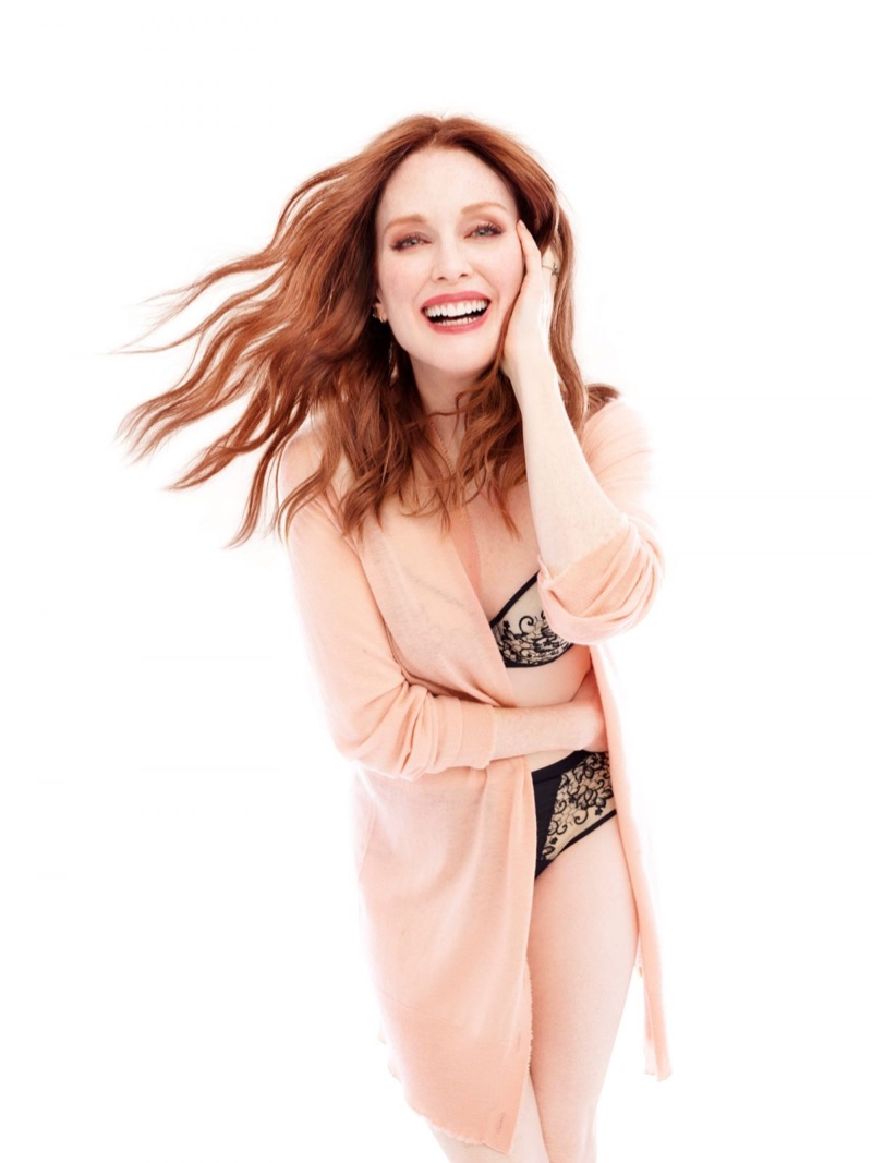 Flashing a smile, Julianne Moore stars in Triumph Florale campaign