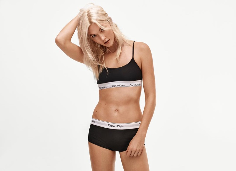 Karlie Kloss wears Calvin Klein Modern Cotton Skinny Strap Bralette and Modern Cotton Short