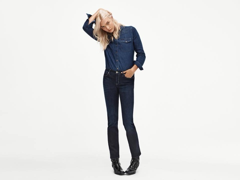 98967087ee Karlie Kloss wears Calvin Klein Modern Cotton Skinny Strap Bralette and Modern  Cotton Short · Calvin Klein Long Sleeve Denim Edge Western Button Down Shirt