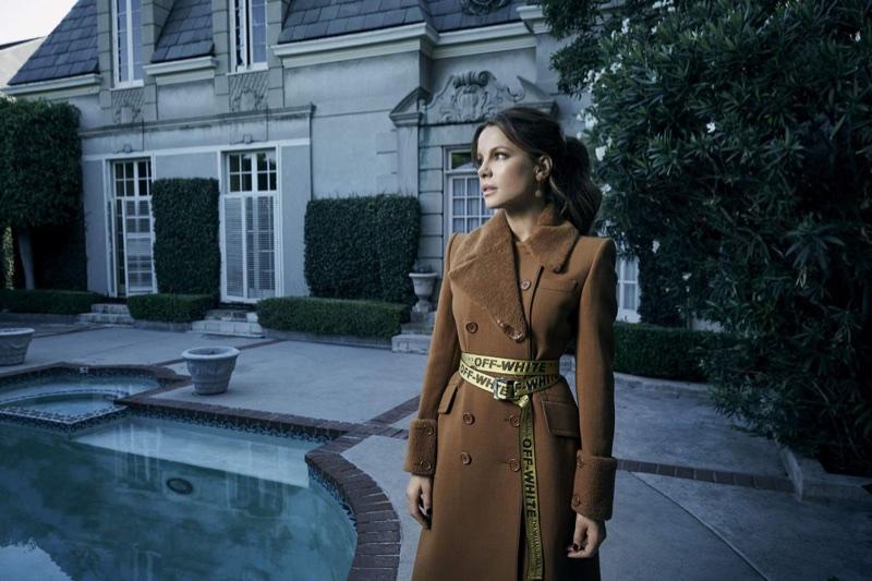Looking elegant, Kate Beckinsale wears Bottega Veneta coat and Off-White belt