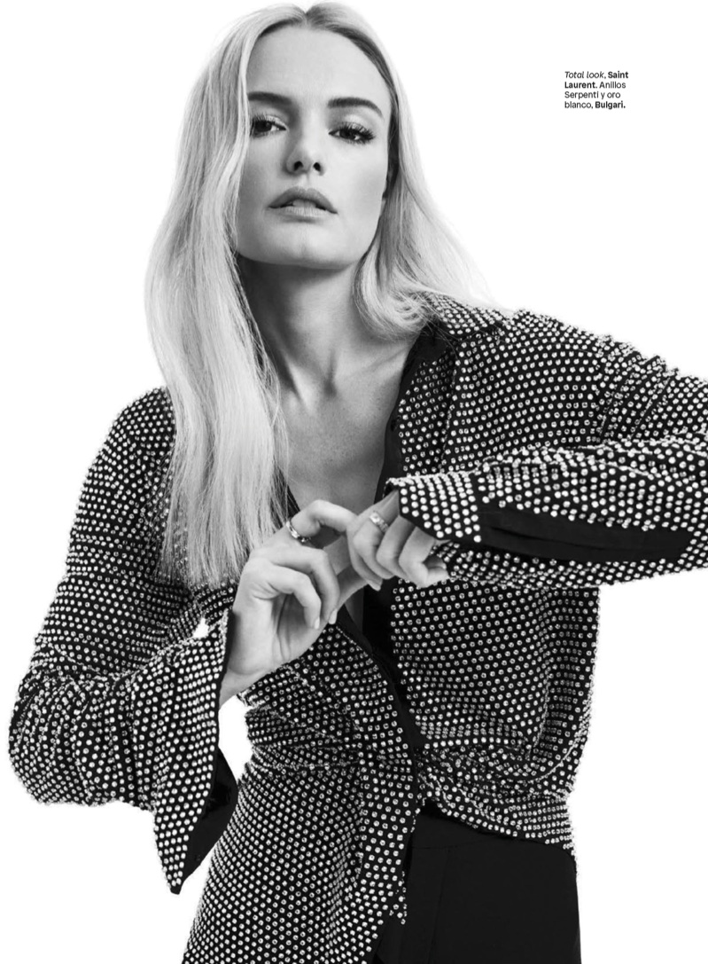Photographed in black and white, Kate Bosworth poses in Saint Laurent look with Bulgari jewelry