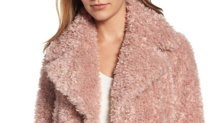 Kensie Teddy Bear Notch Collar Faux Fur Coat $129.90 (previously $198)