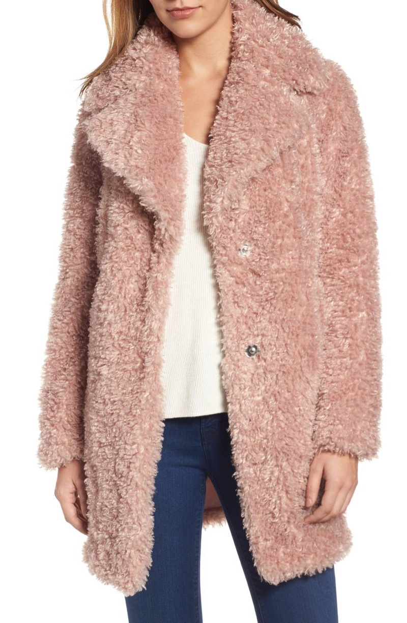 Kensie Teddy Bear Notch Collar Faux Fur Coat $129.90 (previously $198)