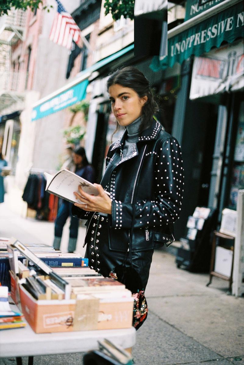 Blogger Leandra Medine poses for Mango Journeys Chapter 7 in New York City