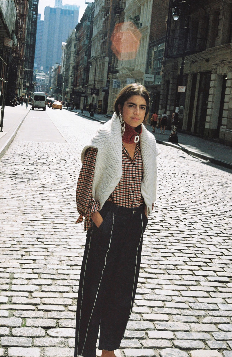 Leandra Medine layers for fall in Mango Journeys