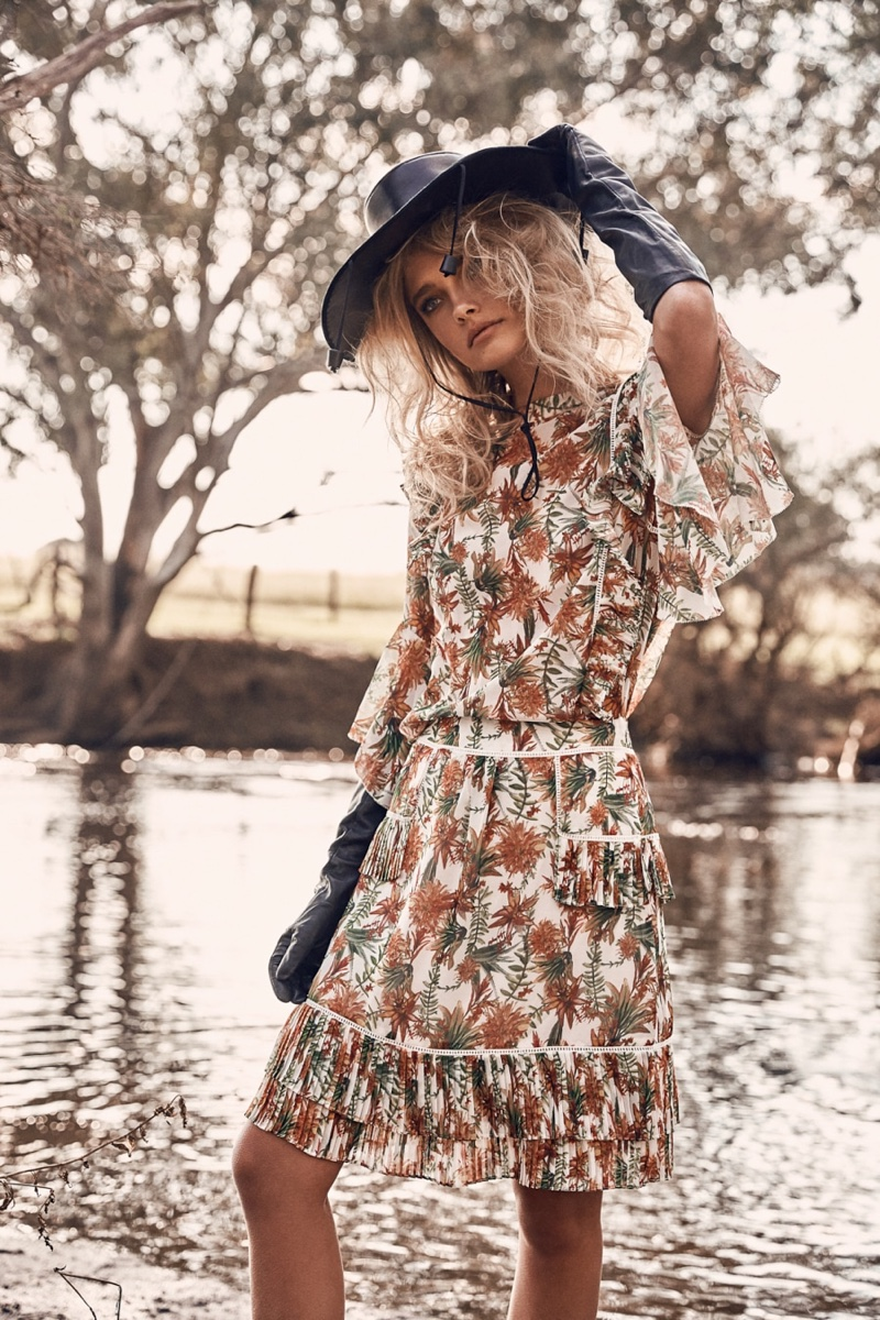 Lillian Van Der Veen Wears Romantic Florals for The Sunday Times
