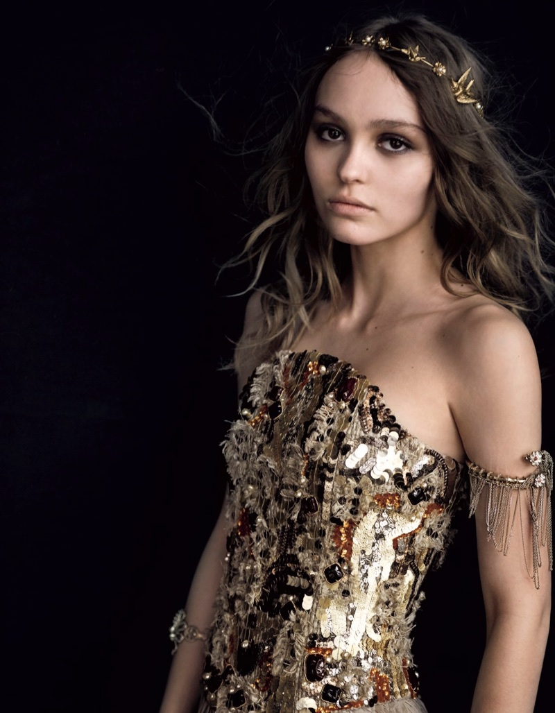 Turning up the shine factor, Lily-Rose Depp poses in Chanel sequin-embellished bodice