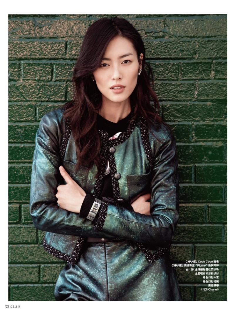 Liu Wen Models Luxe Street Style for Grazia China