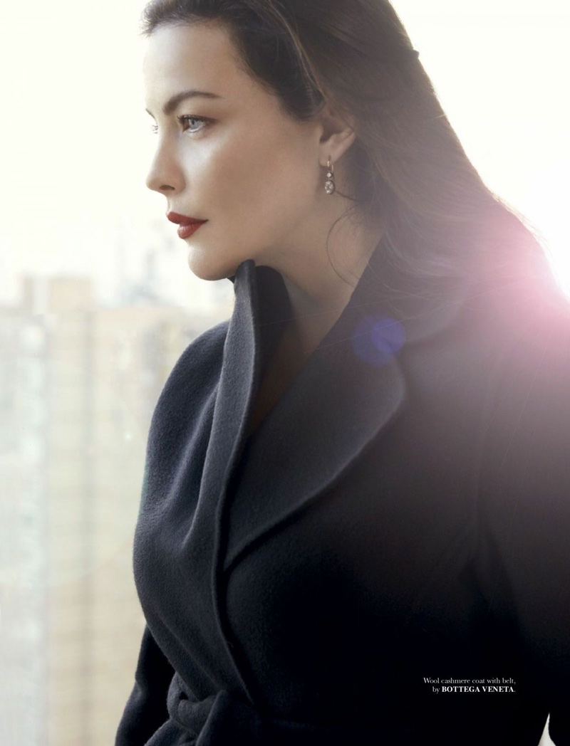 Actress Liv Tyler wears Bottega Veneta cashmere coat and belt