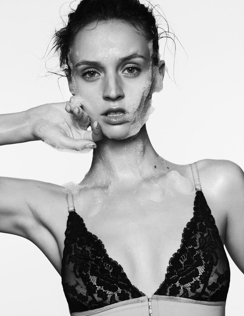 Maddie Kulicka Models Clean Beauty for ELLE France