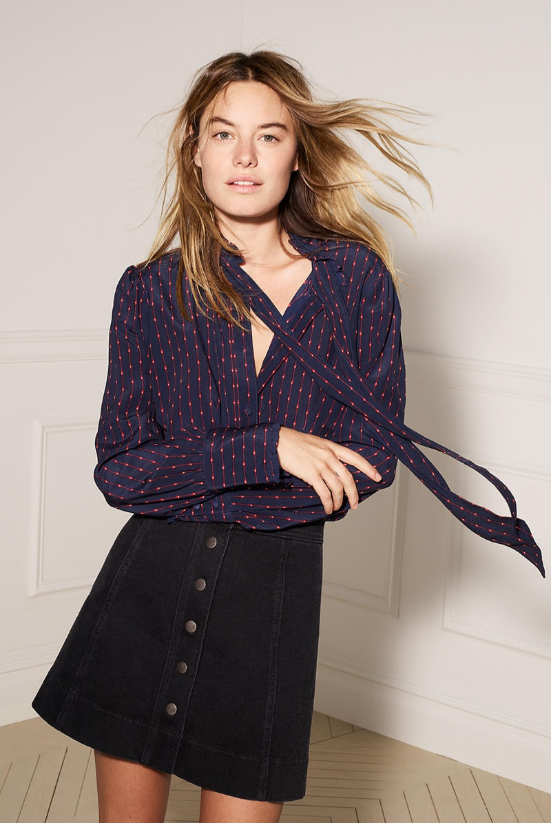 Madewell Silk Tie-Neck Ruffle Shirt in Stripe