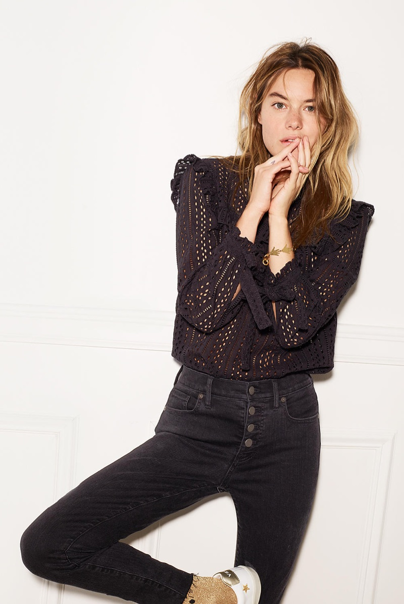 "Madewell 9"" High-Rise Skinny Jeans in Berkeley Black: Button-Through Edition"