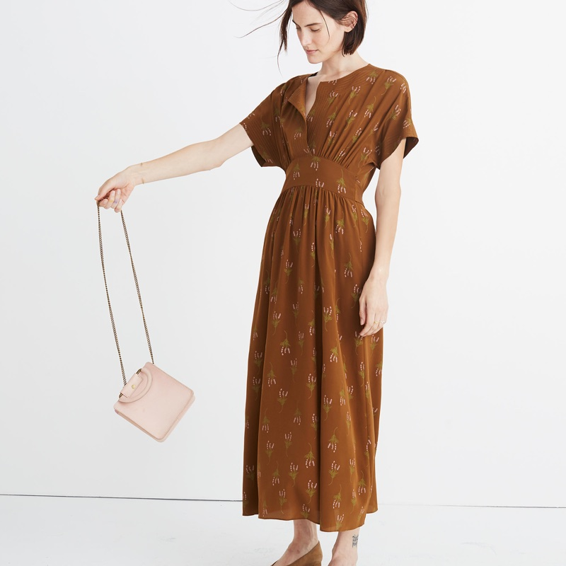 Madewell x No. 6 Silk Kimono Dress in Wisteria Spray $188