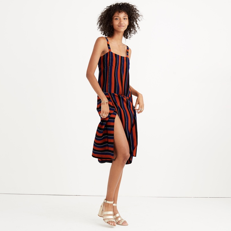 Madewell x No. 6 Silk Patchwork Shift Dress in Multi-Stripe $168