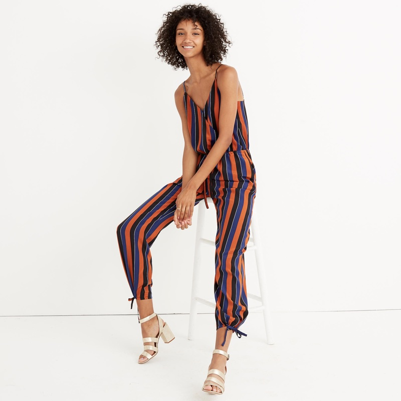 Madewell x No. 6 Silk Playa Cami Jumpsuit Multi-Stripe $168