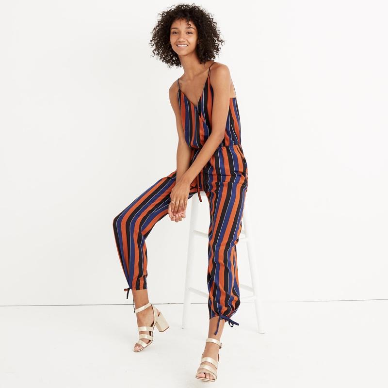 Madewell x No. 6 Silk Playa Cami Jumpsuit Multi-Stripe $168
