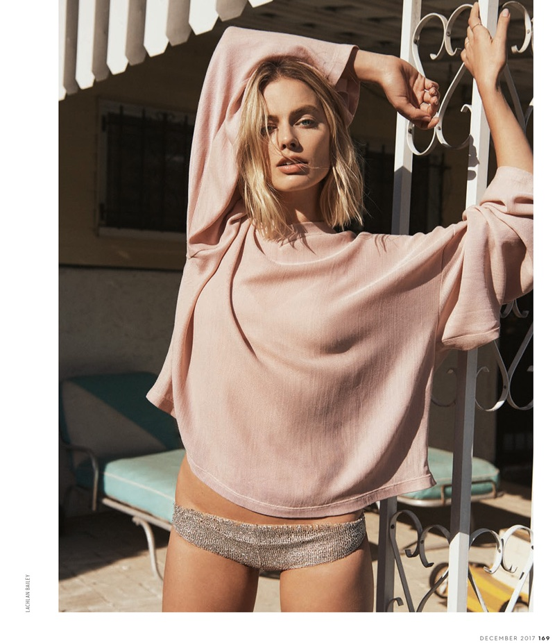 Keeping it casual, Margot Robbie poses in Tom Ford top and briefs