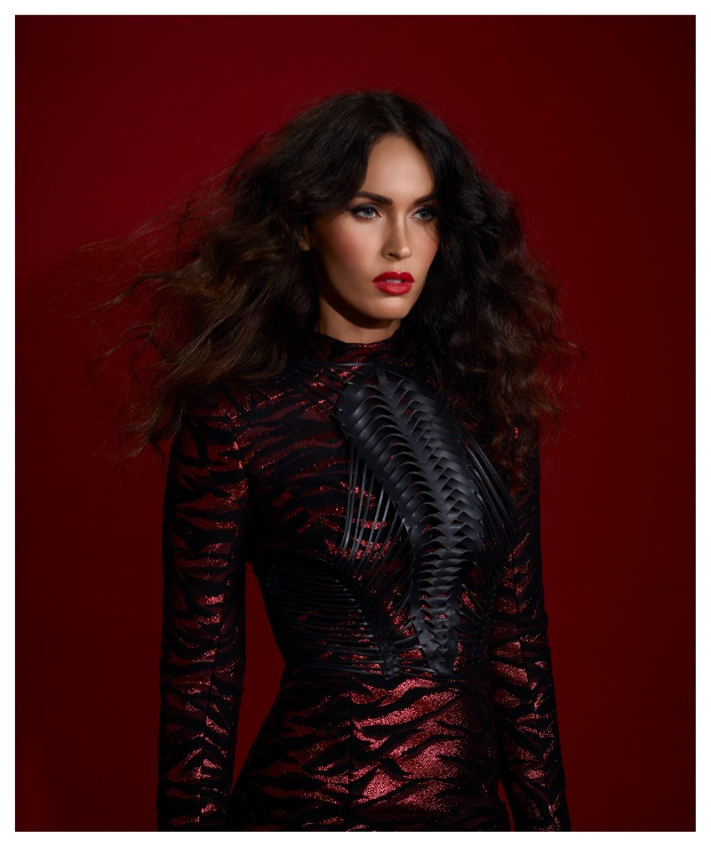 Actress Megan Fox poses in Balmain dress and Yvy harness