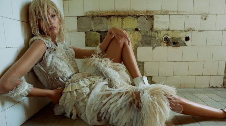 Michaela Kocianova Wears Distressed Glamour for ELLE Czech