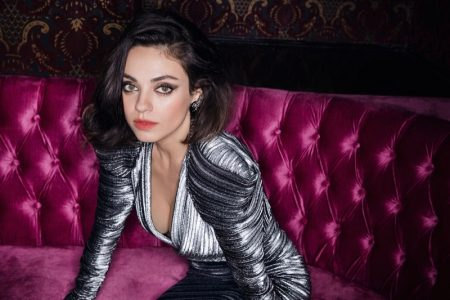 Mila Kunis poses in silver Mugler dress and Marni earrings