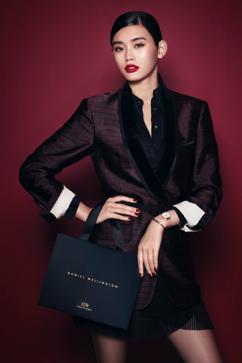 Looking sharp, Ming Xi stars in Daniel Wellington's Holiday 2017 campaign