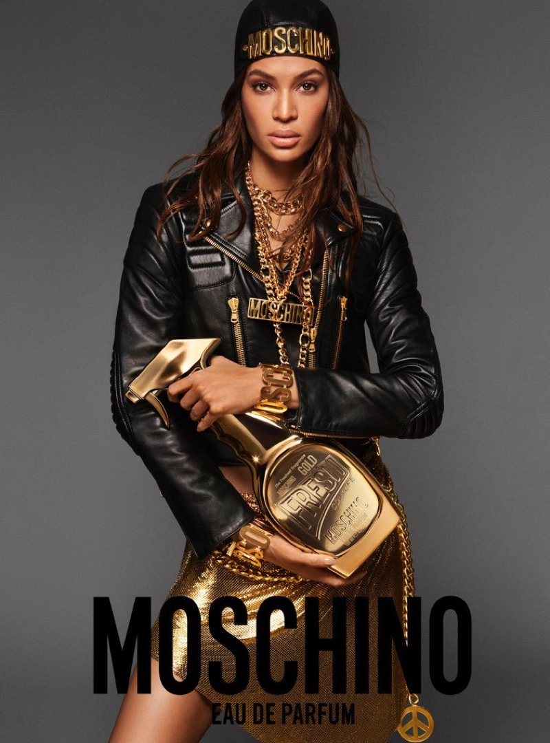 Joan Smalls stars in Moschino Fresh Gold Couture fragrance campaign
