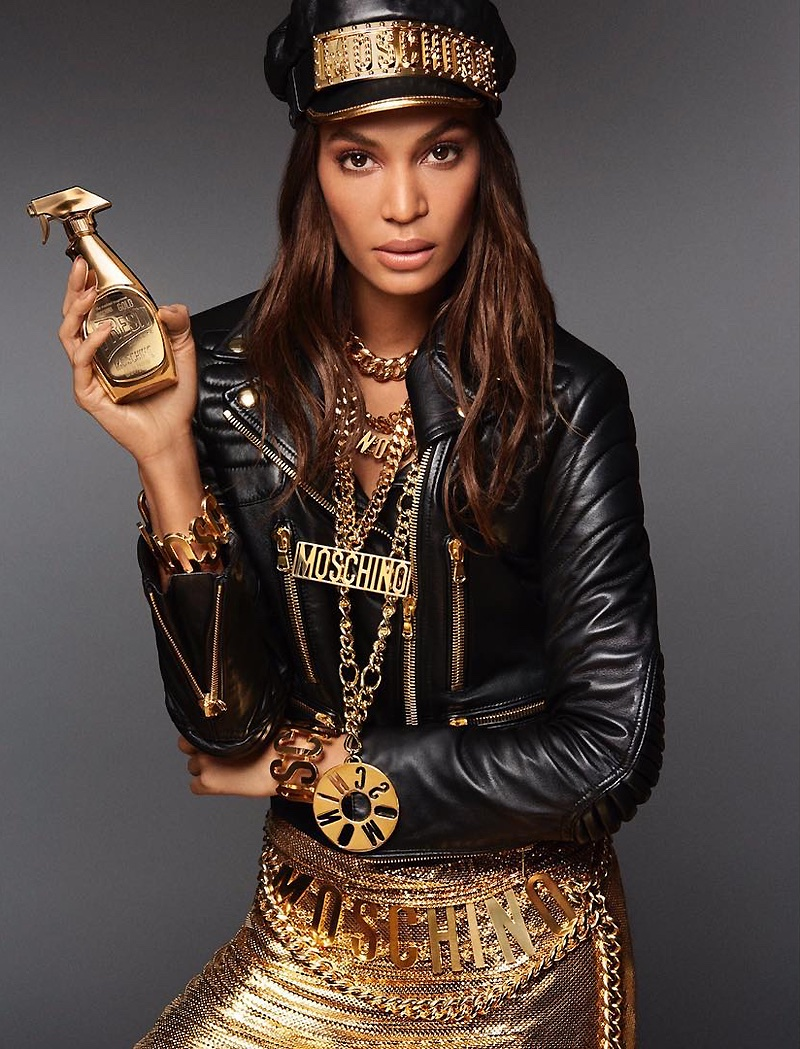 Joan Smalls fronts Moschino Fresh Gold Couture fragrance advertising campaign