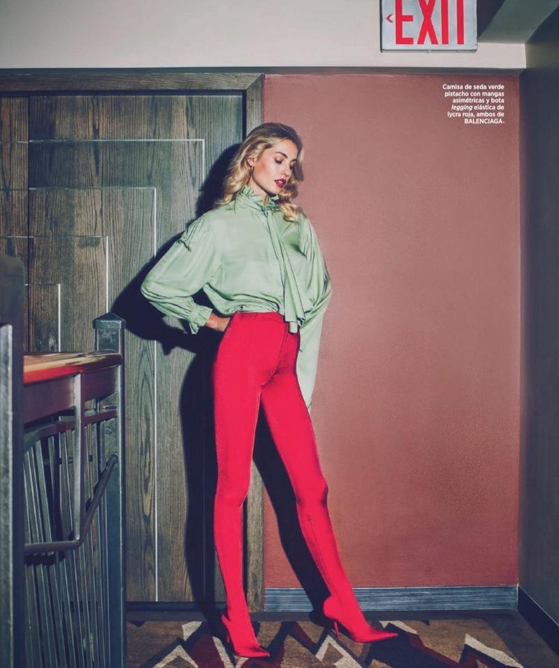 Nadja Bender Models Nighttime Glam Styles for Harper's Bazaar Spain