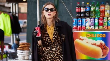 Sunglasses Dolce & Gabbana, Coat Maria Piankov, Leopard Blazer and Pants Frame, Belt Banana Republic, Shirt Porridge, Gloves ASOS, Earrings and Brooch Erickson Beamon and Shoes Stuart Weitzman